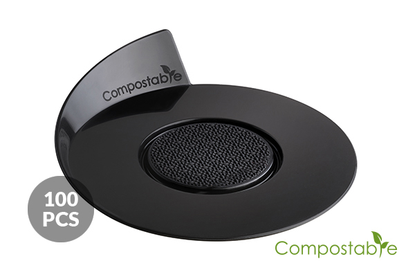 SET 100 COMPOSTABLE BLACK TRAYS - ROUND ø86 MM