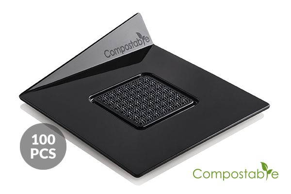 SET 100 COMPOSTABLE BLACK TRAYS - SQUARE 83X83 MM