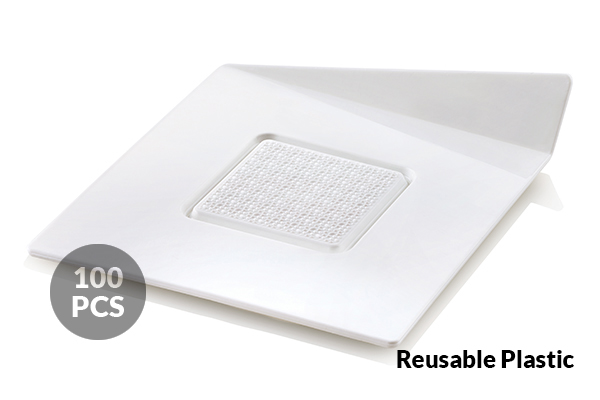 SET 100 WHITE TRAYS - SQUARE 83X83 MM