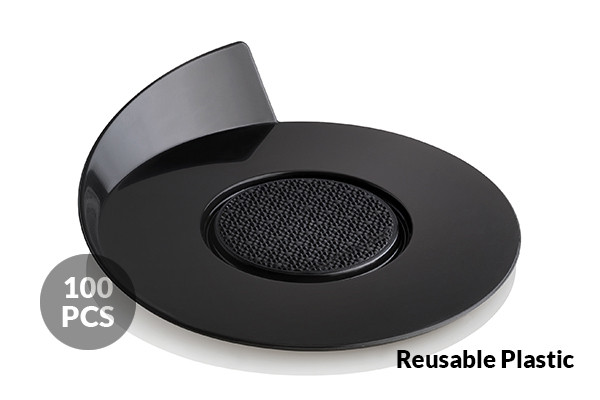 SET 100 BLACK TRAYS - ROUND ø86 MM