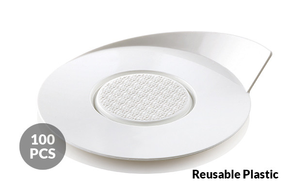 SET 100 WHITE TRAYS - ROUND ø86 MM