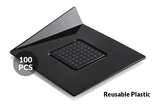 SET 100 BLACK TRAYS - SQUARE 83X83 MM
